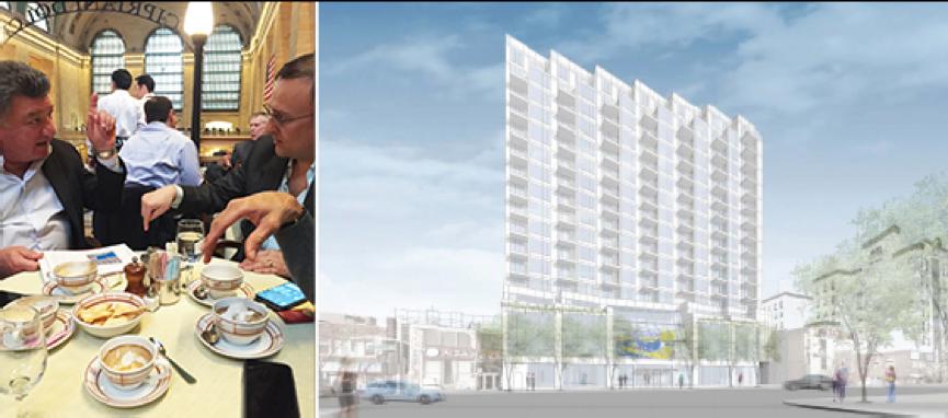 从左边:Jerry Karlick和欧阳默先生(Omer Ozden)在 中央车站的Cipriani谈论位于北方大道135-35号的凯斯戏院改造后的效果图